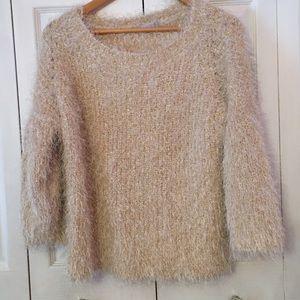 {1. STATE} Eyelash Ivory Gold Fuzzy Sweater Large